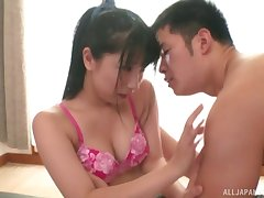 Horny Japanese puts a friend's penis deep inside her on high the floor