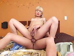 Teen shemale fucks with her stud