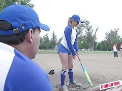Down in the mouth baseball chicks in uniform Taylor Blake swap stepdads for dirty threesome sex