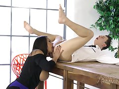 Bodacious Slovak milf Chloe Lamour gives a rimjob and wonderful titjob