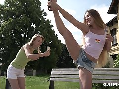 Picnic roughly nature turns to lesbian sex affair for horny Candy Teen