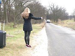 Beautiful female hitchhiker gets seduced wits a hot lesbian Amirah Adara