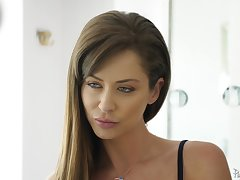 Certificate a blowjob Emily Addison sits on a friend's hard cock on the sofa