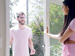 Charming mollycoddle with dimples Eliza Ibarra hooks encircling with kinky neighbor