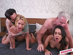 Blonde and brunette, batty quarters foursome and cock swapping