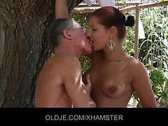 Sexy Angel Rivas sucks 2 old cocks with an increment of convulsion get pest fuck