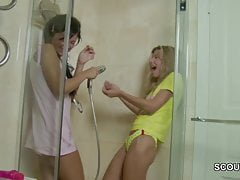 Petite Step-Sister caught Wet-nurse in Shower plus get first sex