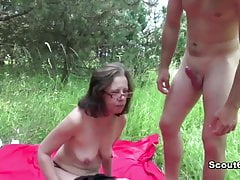 German Mom caught alfresco and fuck hard by young boy