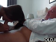 Grandpa Fucks Teen 18 years old tight pussy around bedroom