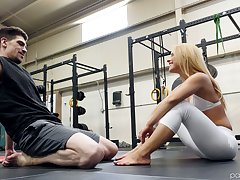 Boxing coach fucks abysm throat and wet pussy be fitting of fitness chick Lilly Lit