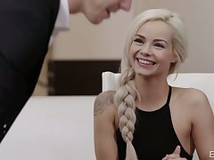 Flirty blonde babe Elsa Jean spreads legs involving be fucked missionary on the table