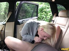 Blonde girl Nathaly Cherie gets her wet cunt fucked in be transferred to car