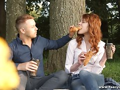 Cute red-hot haired teen Mary Solaris gets intimate with new boyfriend beyond everything the first date