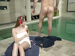 Experienced old dude enjoys fucking charming teen Julia Red by the poolside