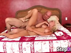 Big-titted tow-haired babe fucked by a grandpa