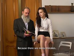 Bearded superannuated teacher fucks seductive sophomore student Milana Witch