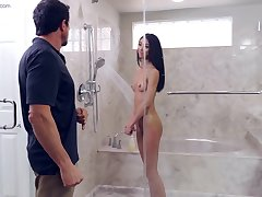 Jada Doll gets fucked by her stepdad in along to shower