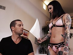 Tattooed porn model Joanna Angel is fucked and jizzed by hot blooded lover