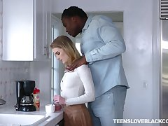 White teen Natalie Knight is craving for a huge black phallus of her stepdad
