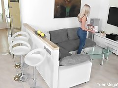Hidden camera video featuring pretty stepdaughter Angelika Grace bringing off relating to herself