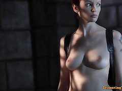 Fantasy sex scene with hot busty model