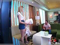 Sad nanny Charlotte Sins gives a blowjob to horny married guy Johnny Castle