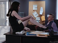Downcast tall with an increment of quite leggy secretary Evelyn Claire is timepiece office sex