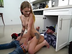 Naughty 18 yo teen Dani Lynn gets naked and jumps on plumber's big load of shit