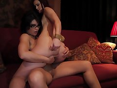 Minimal lesbos use the strap-on for insane sex moments