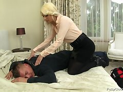 Blonde wife Yenna in clothes fucked by her horny next right of entry neighbor