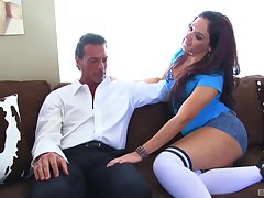 Business man with oft-times of effects picked up street whore Sheena Ryder