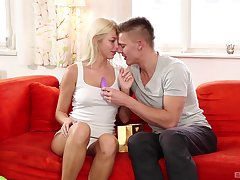 Lovely vocalized foreplay leads the naughty blonde to fuck in hatter modes