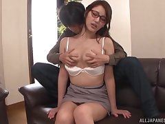Sexy Japanese secretary with glasses fucked balls deep by her boss