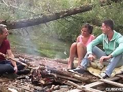 MMF threesome not far from dear girlfriend by the camping fire
