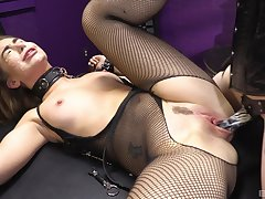 Woman on every side sexy fishnets, rough femdom XXX display