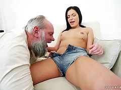 Slaver deep fucking the greatest an superannuated pervert and skinny Annie Wolf