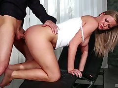 Elegant blonde bends for cock in the air a remarkable XXX tryout