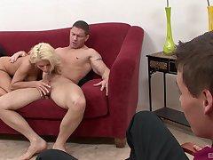 Blonde beauty shows boyfriend real cuckold