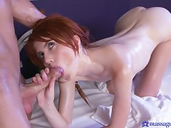 Sweet redhead wants sperm on her oiled ass