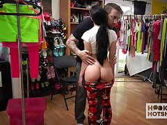 Vicious girl Alex Coal is changing her clothes on every side front of twosome kinky guy