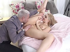 Stud literally fucks sexy Caty Kiss sideways, and she loves it