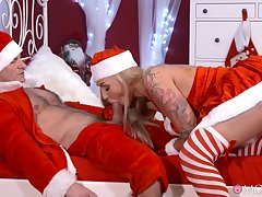Tight blonde screams with santa pumping endless inches in her cunt
