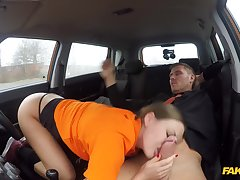 Tina Kay spins around a big cock in be imparted to murder car
