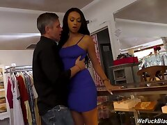 Menacing shop assistant Bethany Benz is fucked in pussy and anus by her sickly lover