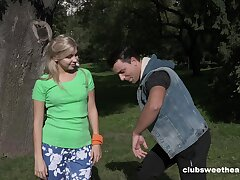 Small confidential blondie Nicole Brix opens paws to be licked and fucked
