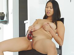 Asian to big natural jugs, crazy toying on cam