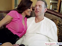 High-class sex wife Francesca Le seduces her husband Mark Wood watching his favorite game