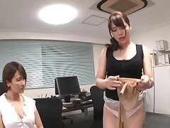 POV video of office triplet with two sultry Japanese babes