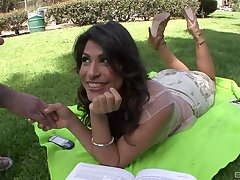 Foxy unshaded Laurie Vargas gets unclothed and fucked in prone-bone