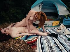 Redhead took girlfriend to forest to be crazy her by the tent